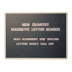 Quartet - Magnetic Letter Message Boards - Features: -Sturdy magnetic letter board boldly displays messages and can be updated quickly and easily. Ridged surface keeps letters secure and perfectly aligned. .-Wall mount magnetic letter board comes complete with magnetic characters .-Use in any indoor space .-Mounting system included .-Black surface creates a starking contrast to white lettering to make messages highly visible and clearly readable .-Horizontal ridges keep letters perfectly aligned .-Gray, aluminum frame is detailed for a professional look .-100% Satisfaction Guaranteed.