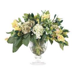 "Silver Nest - Hydrangea Centerpiece- 25""h - Beautiful green and white hydrangea rose in glass urn centerpiece."