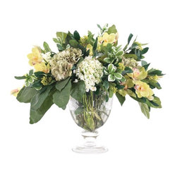 "Silver Nest - Hydrangea Centerpiece- 25""h - Beautiful green and white hydrangea rose in glass urn centerpiece."