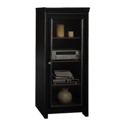 Bush - Bush Stanford Audio Cabinet with 2 Adjustable Shelves in Antique Black - Bush - Audio Racks - AD5394003 -If you're searching for a high quality wood audio cabinet with a front entry glass door you've found what you're looking for. The Bush Furniture Stanford Audio Cabinet/Rack is an electronic component storage cabinet and rack for media components. The shelves in this piece are large enough to hold non-electronic items such as vases and books to suit your style and taste.
