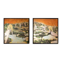 """Glittered Led Zeppelin Houses of the Holy 2 piece Installation - Glittered record album. Album is framed in a black 12x12"""" square frame with front and back cover and clips holding the record in place on the back. Album covers are original vintage covers. This is a 2 piece set each 12x12 framed"""