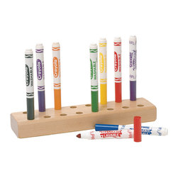 Steffywood - Steffywood Kids Wooden Marker Holder Storage/Display Stand, Holds 16 - Holds 16 markers. Cap stays snuggly in hole when marker is pulled out so caps do not get lost. Solid maple.Solid maple. Holds 16 markers. Non toxic environmentally safe durable clear finish. GreenGuard Certified.