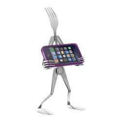 Forked Up Art - The iFork - Landscape - You could get a normal stand to hold your table, but that's boring! This guys is specially shaped to not scratch the screen of your device. Also great to pull up recipe apps in the kitchen.