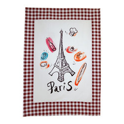 Provence Imports - Paris Bistro Cotton Tea Towel - Redwood - This fun tea towel includes the main aspects of proper French life: baguette, cheese, croissant, espresso, wine bottle, wine glass, chef hat and -- of course -- the Eiffel tower! Printed in vibrant colors on a soft cotton towel with a dark red-brown bistro check border, it is ready for work.
