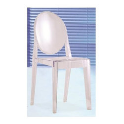 Fine Mod Imports - Contemporary Side Chair - Set of 2 - Set of 2. Strong resistant to blows, scratchproof and weatherproof. Warranty: One year. Made from transparent acrylic. Smoke color. No assembly required. Seat height: 18.5 in.. Overall: 15 in. W x 19 in. D x 36 in. H (10 lbs.)With strongly charismatic character and outstanding aesthetic appeal, this chair fits perfectly into every home or public area with elegance and irony.