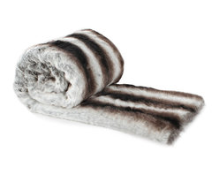Love Thy Prey Faux Fur Throw, Chinchilla Smoky Gray - Remember the splendor of fur in ancestral chateaus and wintertime couture with the Chinchilla Smokey Grey faux fur throw blanket from the Love Thy Prey Collection.  This beautiful addition to a plush array of bedding or a rich living-room scheme is crafted from a realistic imported faux fur whose naturalistic soft-edged stripes of white and charcoal have a rhythmic patterning, which makes a delightful contrast with the material.