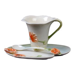 US - 6 Inch White Glazed Porcelain 3 Piece Coffee Set with Poppy Motif - This gorgeous 6 inch white glazed porcelain 3 piece coffee set with poppy motif has the finest details and highest quality you will find anywhere! 6 inch white glazed porcelain 3 piece coffee set with poppy motif is truly remarkable.