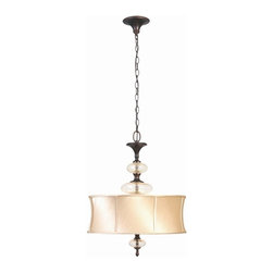World Imports - Chambord 3 Light Iron Pendant w Glass Ornaments in Weathered Bronze - WI853356 - Manufacturer SKU: WI853356. Bulbs not included. Champagne crackle glass ornaments. Full framed ivory silk lined shades. Weathered Copper Finish. Upscale approach to the basics of lighting your home. Chambord Collection. 3 Lights. Power: 60w. Type of bulb: Candelabra. Weathered Bronze finish. 10 ft. Chain & 12 ft. Wire. 18 in. D x 23.25 in. H (13.64 lbs.)