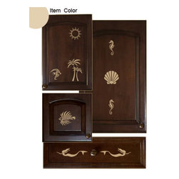 Cabinet Decals - Kitchen Cabinet Decals - Seashore Theme - Cabinet Accents provides people with an easy and convenient way of decorating their kitchen without having to make permanent marks. This innovative product is a decorative design kit that is used to embellish cabinet door and drawer faces. Each themed package contains multiple vinyl decals specially sized to fit within the parameters of standard cabinet doors and drawers. By using this product, people can add a touch of their own personal style and color in a matter of minutes.