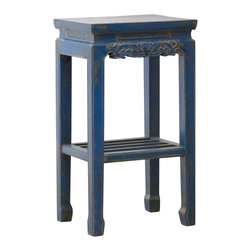Madera Home - Anna Blue End Table - Our collection of tables are built of beautiful elm wood reclaimed from buildings and furniture pieces that graced the eclectic Qing dynasty. Each piece is meticulously hand built and finished by time-honored craftsman utilizing over 120 different processes. 200 year old hand carvings are intricately placed in some, while the simplistic lines and natural wear age make others unique, and still others are hand painted with beautiful villages, kimono, and lotus scenes. Perfect in the entry or behind the sofa, no two pieces are alike.