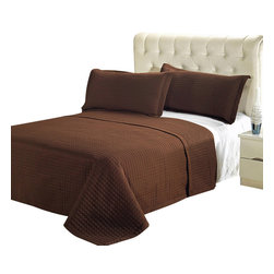 Bed Linens - Luxury Chocolate Brown Checkered Quilted Wrinkle Free Microfiber 3 Piece Coverle - Luxury Checkered Quilted Wrinkle Free Microfiber 3 Piece Coverlets Set