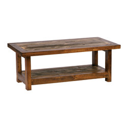 Mountain Woods Furniture - Reclaimed Wood Coffee Table 48x24 - Rustic  Reclaimed  Wood  Coffee  Tables  for  the  Eco-Friendly          Beautiful  reclaimed  wood  coffee  table  handcrafted  from  rustic  barnwood  harvested  from  the  windswept  plains  of  Wyoming.  The  Wyoming  Collection  is  handcrafted  from  weathered  wood--sun  drenched  by  Mother  Nature  and  recycled  by  expert  artisans.  As  barn  wood  becomes  more  and  more  scarce,  your  rustic  coffee  table  will  increase  in  value.  Perfect  in  combination  with  all  styles  of  rustic  furniture,  even  in  more  contemporary  settings,  this  beautiful  rustic  wood  table  is  green  at  its  very  best.                  Table  dimensions:  48  inches  wide  by  24  inches  long  by  18  inches  high              Made  in  USA              Rustic  reclaimed  barn  wood              Expert  Craftsmanship              Lifetime  Warranty              Free  curbside  shipping  within  continental  U.S.;  Call  for  inside  delivery  options              Allow  4-6  weeks  for  shipping                      Detail  of  Reclaimed  Wood  Top  for  Coffee  Table      Click  here  to  view  matching  pieces  from  the  Wyoming  Reclaimed  Wood  Furniture  Collection.