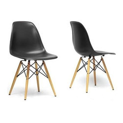 Wholesale Interiors - Azzo Black Plastic Mid-Century Modern Shell Chair (Set of - Mid-century modern shell chair (side chair design)