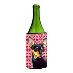 Caroline's Treasures - Min Pin Hearts Love and Valentine's Day Portrait Wine Bottle Koozie Hugger - Min Pin Hearts Love and Valentine's Day Portrait Wine Bottle Koozie Hugger Fits 750 ml. wine or other beverage bottles. Fits 24 oz. cans or pint bottles. Great collapsible koozie for large cans of beer, Energy Drinks or large Iced Tea beverages. Great to keep track of your beverage and add a bit of flair to a gathering. Wash the hugger in your washing machine. Design will not come off.