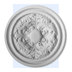 "Inviting Home - Davie Ceiling Medallion - large ceiling medallion diameter - 27-1/2"" decorative medallion Davie ceiling medallion has exquisite acanthus leaf motif. This decorative medallion for ceiling is classic reproduction of historical design. Davie medallion molded in deep relief design to achieve the highest degree of quality and details. This decorative medallion giving you look and feel of plaster while it is much easier to install than plaster or gypsum due to the weight dimensional stability precise tolerances and flexibility. - ceiling medallion manufactured from high density furniture grade polyurethane. - decorative medallion is water and heat resistant impervious to insect infestation and odor free. - center hole on the ceiling medallion is easily drilled or cut with a pen-knife to any dimension. - for installation of the ceiling medallion use specially formulated ceiling adhesive."