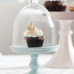 Small Blue Porcelain Cupcake Stand with Glass Dome - Rosanna Blue Decor Bon Bon Pedestal. Mix and match......add some color by combining the pink, blue and white porcelain cupcake pedestals.