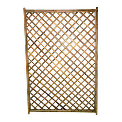"Master Garden Products - Framed Bamboo Lattice Panel, Diamond Opening Pattern - Framed bamboo diamond trellis can be hung over an open wall, or used as a fence or trellis for a climbing vine. These bamboo trellises are handcrafted using an old traditional technique of bamboo dowels and polyester ties, meaning no metal hardware are used to prevent rusting. Using solid 1.5"" bamboo poles as the frame, these trellises are solid and durable. Comes in 48""W x 72""H size."