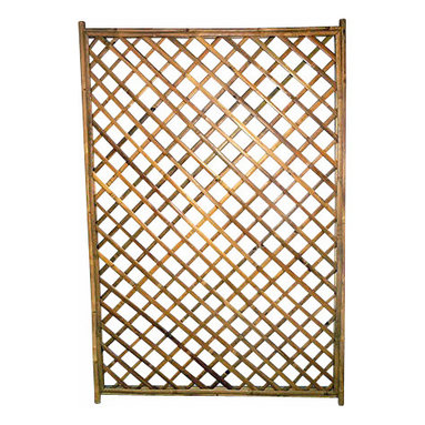 """Master Garden Products - Framed Bamboo Lattice Panel, Diamond Opening Pattern - Framed bamboo diamond trellis can be hung over an open wall, or used as a fence or trellis for a climbing vine. These bamboo trellises are handcrafted using an old traditional technique of bamboo dowels and polyester ties, meaning no metal hardware are used to prevent rusting. Using solid 1.5"""" bamboo poles as the frame, these trellises are solid and durable. Comes in 48""""W x 72""""H size."""