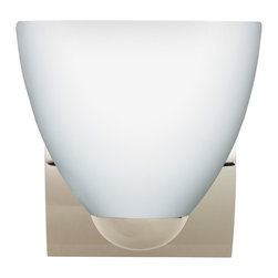 Besa Lighting - Besa Lighting 1WZ-757207-CR Sasha II Opal Matte Chrome One Light Wall Sconce - Sasha II has a classical bell shape that complements aesthetic, while also built for optimal illumination. Our Opal glass is a soft white cased glass that can suit any classic or modern decor. Opal has a very tranquil glow that is pleasing in appearance. The smooth satin finish on the clear outer layer is a result of an extensive etching process. This blown glass is handcrafted by a skilled artisan, utilizing century-old techniques passed down from generation to generation. The minisconce fixture is equipped with a sleek arcing diecast lampholder and matching radiused rectangular canopy. These stylish and functional luminaries are offered in a beautiful Chrome finish.