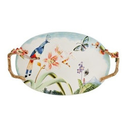 Fitz and Floyd 29-561 Flourish Serving Platter - The bright and cheery design of the Fitz and Floyd 29-561 Flourish Serving Platter makes everything thing taste even better. The durable earthenware construction and twig-like side handles make this a darling addition to the Flourish collection. The natural themed look and ample serving room are certain to make an appearance at your next dinner party.About Fitz and FloydFitz and Floyd is recognized worldwide as a leader amongst the style- and quality-conscious. For 50 years, their unique designs have made them the leader in the purveyor of hand-painted ceramic dinnerware, tableware, accessories, giftware, and collectibles. All Fitz and Floyd pieces are easy to spot. Each piece is distinctively hand-crafted by artisans, from the drawing board to the sculpting wheel and kiln.The company's Dallas-based studios are renowned for producing over 500 unique designs per year. Creations range from presidential dinnerware for the White House or a tea service for Her Majesty Queen Elizabeth II, to the perfect centerpiece for your table, and each design is lovingly crafted in the highest quality. Meticulous craftsmanship and exquisite detail make every Fitz and Floyd piece a treasured heirloom-quality gift.