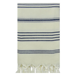 Original Natural Hand Loomed Hand Towel,  Natural/Navy