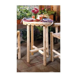 "Rustic Cedar - Outdoor Cedar Log Design Pub Table - Bring a touch of rustic charm to your deck, porch, or patio with this beautiful bar table.  Natural cedar in a pub table style gives this a classic outdoor look that is weatherproof but can be used indoors as well to accent any room in your house.  Made of carved cedar logs, this table can brighten up the look of your outdoor entertaining areas, providing you and your guests with a wonderful place to sit and eat or drink while enjoying good weather.  Unique table top has split cedar logs in a classic planked look to enhance the outdoor look.  The simple beauty of cedar logs is captured on this pub table. * This rustic and rugged Outdoor Log Pub Table stands 41"" tall and has a 32"" diameter round top.. This naturally beautiful table is cross-braced for stability and displays an attractive, rough hewn appearance that will enhance any outdoor furniture setting.. 32"" diameter x 41"". Weight: 50lbs."