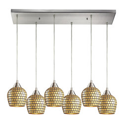 Elk Lighting - EL-528-6rc-gld Fusion 6-Light Pendant in Satin Nickel and Gold Mosaic Glass - This Fusion 6-light pendant is meticulously hand blown with up to three layers of uncompromising beauty and style. Features gold leaf glass shade. Accommodates six 100-watt medium base bulb. Available in satin nickel finish. Measures 9-inch extended length by 30-inch width by 9-inch height.