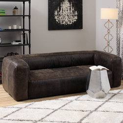 None - Diva Outback Dark Brown Leather Sofa - This puffy contemporary sofa is composed of full Italian leather with a lovely distressed finish. The comfortable piece contains a soft assortment of polyurethane foam, duck feathers and polyester fiber within the upholstery.