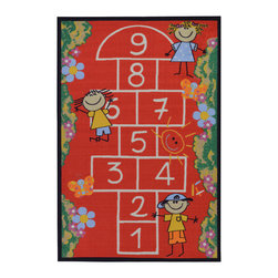 None - Children's Playground Design Red Area Rug (3'3 x 5') - The Children's Playground Design non-skid, rubber-backed area rug features children's education and novelty designs that are sure to uplift any space. This inviting area rug offers a durable construction for years of use, and a vivid color palette.