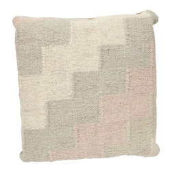 Pastel Ziggurat Throw Pillow - A hip Indian dhurrie throw pillow with pastel ziggurat design. Taupe backing, zipper enclosed. Pillow form is included.
