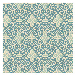 Aqua Moroccan Mosaic Cotton Fabric - Teal & aqua block print reminiscent of traditional Morrocan mosaics.Recover your chair. Upholster a wall. Create a framed piece of art. Sew your own home accent. Whatever your decorating project, Loom's gorgeous, designer fabrics by the yard are up to the challenge!