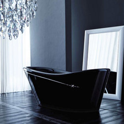 WS Bath Collections - WS Bath Collections Nina Cross 66 Inch Modern Acrylic Freestanding Tub Multicolo - Shop for Tubs from Hayneedle.com! The moody stylish blackness of the WS Bath Collections Nina Cross 66 Inch Modern Acrylic Freestanding Tub is enhanced by an edgy slice of decorative line along the side. The line ends with a subtle statement of style: an X marks the spot where you can relax soak up some attitude and prepare yourself for the day's battles. Items required for the tub to function include a wall- or floor-mounted faucet drain and water supply line (not included). This freestanding tub comes with a one-year manufacturer's warranty. We recommend that a professional plumber or contractor install your new tub and that you measure your space prior to purchasing to ensure a proper fit.Tips to Take Before Taking it Easy in Your Clawfoot or Freestanding TubWe know you're excited to transform your bathroom from dull to indulgent with the addition of a clawfoot tub or a freestanding tub but please consider this important information before taking on your tub.We recommend having a professional plumber install your tub.Make sure your floor can support the weight of the tub whether it's empty or full.Measure the doorway you'll take the tub through to get inside your house and measure your stairwell and your bathroom doorway too to make sure the tub will fit. Remember that some tub feet are not removable.Get prepared with the right parts. You'll need some essentials to enjoy a proper clawfoot or freestanding tub experience. Keep in mind that parts such as the faucet drain supply lines hand-held shower head shower curtain and shut-off valves are sold separatelyWhile you can use universal parts for some tubs you'll find that others require parts that are the same brand as the tub. All of your necessary tub parts are available for purchase here at ClawfootTubs.com.Have your plumber ensure that your tub is level. To prevent the tub from moving and to protect your floor try placing coasters underneath the tub feet.After the tub is installed see that your plumber turns the water on and makes sure everything works and drains properly.Now don't forget the bubbles!About WS Bath CollectionsA tradition of fine handcraftsmanship warmth of material and beauty of design characterize this company's exclusive collection of fine bathroom and kitchen products. The collections include innovative and distinctive sinks washbasins washstands bathtubs bathroom furniture and complementary accessories that provide inspirational solutions for every imaginable decor.Please note this product does not ship to Pennsylvania.