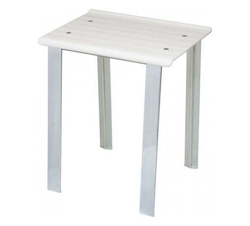 WS Bath Collections - Leo 5370V Stool in White - Leo 5370 by WS Bath Collections 15.8 x 11.8 x 18.1 Stool, Seat of Transparent Colored Polycarbonate or White ABS, Legs of Die-cast Aluminum Varnished, Tubes and Screws of Stainless Steel