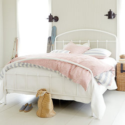 Ballard Designs - Lorraine Metal Bed - Includes headboard, footboard & side rails.. We fell in love with the antique original and recreated in all its charming vintage detail. Our Lorraine Bed is hand crafted of metal with slender rails accented with simple turnings.Lorraine Metal Bed features:  .