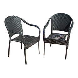 Great Deal Furniture - Livingston Outdoor Black Wicker Chair (Set of 2) - Enjoy some sun with these sturdy outdoor wicker chairs. These chairs will bring leisure and elegance to your backyard, patio or pool area and their neutral color can be easily matched with almost any decor. The Livingston outdoor wicker chair is the perfect addition to any outdoor space.