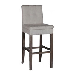 Gabby - Gabby Conrad Barstool - Conrad Barstool's sleek lines  are a beautiful contrast to the white linen covered seat and back. Pair multiple stools together to create a bench along a wall or bar counter.