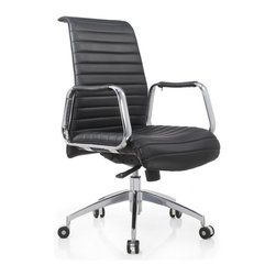 White Line Imports - Oxford Low Back Office Chair in Black Leatherette - Features: