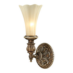 ELK - ELK 11550/1 Wall Sconce - The Allesandria collection features majestic open work detailing in the French Baroque style.  The frame has a multi-step finish of Burnt Bronze with weathered gold leaf accents.  The scalloped glass displays an elegant tapered shape with an antique amber finish.