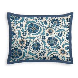 Blue & Beige Suzani Custom Sham - Stay classy, America!  Add a few Tailored Shams with crisp solid edging to create a bedset with the perfect mix of contemporary style and classic elegance. We love it in this eclectic swirling suzani in shades of blue and indigo on natural linen.