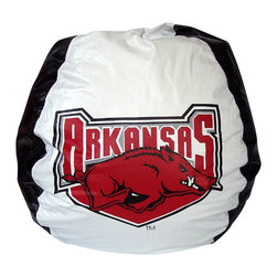 Bean Bag Boys - Bean Bag Boys Vinyl Bean Bag Chair in Arkansas Razorbacks - Pear-shaped design offers back support or rounded appearance as needed. Complies with voluntary CPSC Guidelines for zipper closures. 100% Recyclable Product. Product is Refillable Proudly made in the U.S.A. Double-Stitched with Clear Nylon for added Strength.