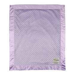 """Dot Velour Baby Blanket, Lavender - These velour baby blankets, embossed with a raised dot texture, have become a My Blankee best seller. A celebrity among baby shower gifts, the Dot Blanket also comes in a selection of over twenty-one eye catching colors ranging from soft pastels to bright and vibrant hues, all lined with a matching 3"""" satin ruffled border to make this a luxury baby blanket with personality."""