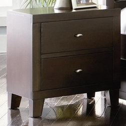 Coaster - Lorretta 2-Drawer Nightstand - Contemporary style. Two spacious storage drawers. All wood constructed drawers with English dovetail joints. Metal on wood center drawer glides. Smooth and unadorned surface. Block feet in a modern taper shape. Brushed nickel finish hardware. Deep brown finish. 22 in. W x 16 in. D x 24 in. H. WarrantyComplement your bed with the contemporary styling of this two drawer night stand.