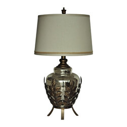 """Lamps Plus - Contemporary Crestview Collection Serendipity Toasted Silver Table Lamp - This inviting mercury glass table lamp features a beautiful jug body in a leafy toasted silver finish metal stand. A soft champagne silver shade completes this casual yet elegant look. Revitalize your decor with this wonderful piece from Crestview Collection lighting. Decorative glass table lamp. Mercury glass finish jug body. Glass and metal construction. Champagne silk shade. Leafy stand in toasted silver finish. Takes one 150 watt 3-way bulb (not included). Shade is 14"""" across the top 16"""" across the bottom and 10 1/2"""" high.     Decorative glass table lamp.  Mercury glass finish jug body.  Glass and metal construction.  Champagne silk shade.  Leafy stand in toasted silver finish.  Takes one 150 watt 3-way bulb (not included).  Shade is 14"""" across the top 16"""" across the bottom and 10 1/2"""" high."""