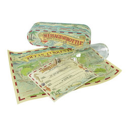 "Kids Message in a Bottle - The kids message in a bottle measures 8 x 2.5 x 2.5"". The allure of a message in a bottle. Known to have traveled half the globe, message bottles are still sought out by young and old. Ours comes with bottle, message, cork, and a map of the currents to see where you message may go."