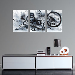 None - 'Abstract' Hand-painted Gallery-wrapped Canvas Art (Set of 3) - Find the perfect place in your home for this contemporary gallery-wrapped canvas art and get ready for the compliments. This set,which includes three paintings intended to hang in a row,comes with attached mounting hooks to make hanging them simple.