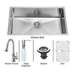 """Vigo - Vigo All in One 32 Undermount Kitchen Sink and Faucet Set (VG15167) - Vigo VG15167 All in One 32"""" Undermount Kitchen Sink and Faucet Set, Stainless Steel"""
