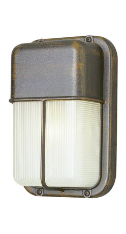 Joshua Marshal - One Light White Frosted Polycarbonate Rectangle Ribbed Glass Marine Light - One Light White Frosted Polycarbonate Rectangle Ribbed Glass Marine Light