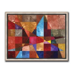 """Aubrey Freeman - Conflict 19 x 25 Print - """"Conflict"""" is a contemporary canvas giclee by Aubrey Freeman. We present this to you in a 1/2"""" silver floater frame that has no lip or edge of the frame overlapping your picture. This makes for an overall framed size of 19 x 25."""