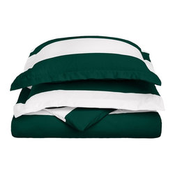 """Cotton Rich 600 Thread Count Cabana Kids Duvet Cover Set - Twin - Hunter Green - This Cotton Rich Duvet Cover set features bright cabana colors and child friendly sizes. Our 600 Thread Count Cotton Rich Cabana Kids Duvet Cover Set is a superior quality blend of 55% Cotton and 45% Polyester making these duvets soft, wrinkle resistant, and easy to care for. Set includes: Duvet Cover: 68"""" x 86"""" and Pillow Sham: 20"""" x 26""""."""