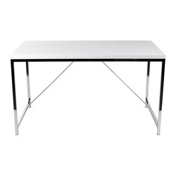 Eurostyle - Gilbert Desk-Wht - High gloss lacquered MDF top